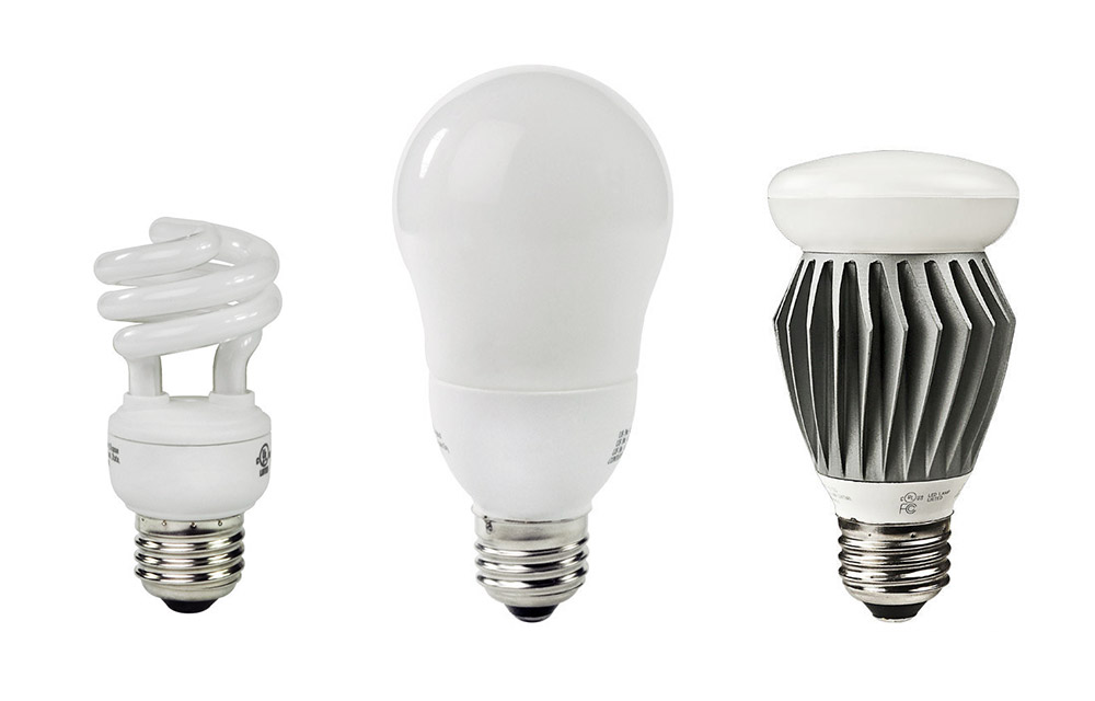 From left to right: CFL, A-shape CFL, and LED