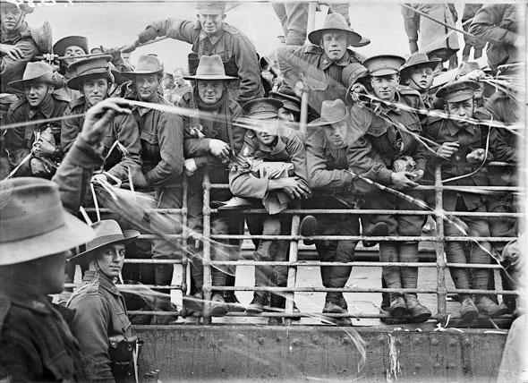 Embarkation of HMAT Ajana, Melbourne,  1916  Josiah Barnes (Australian, 1858-1921)
