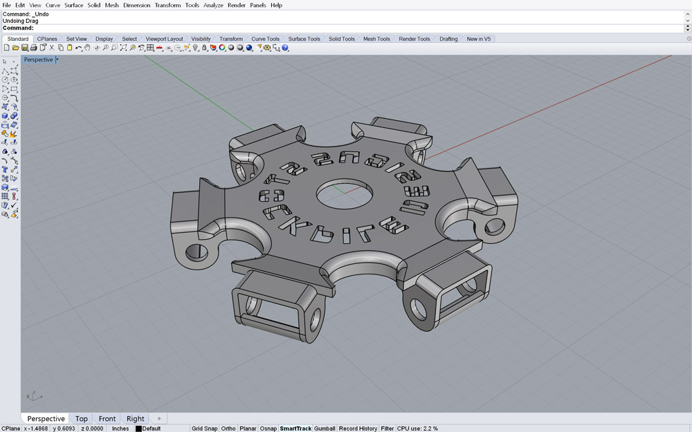 The new hub, as designed in Rhino CAD software
