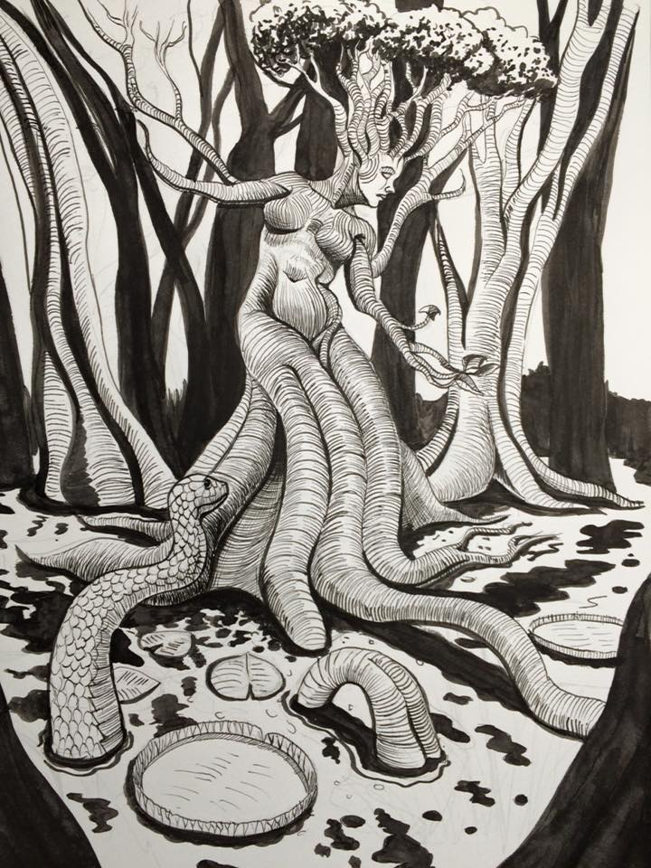 Inktober 28 - Tree woman