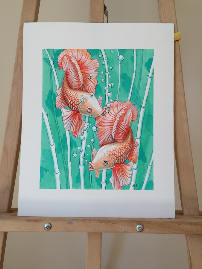 Photo of the ballerina goldfish painting
