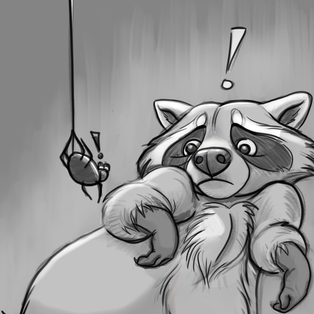 Yoikes Raccoon sketch crop