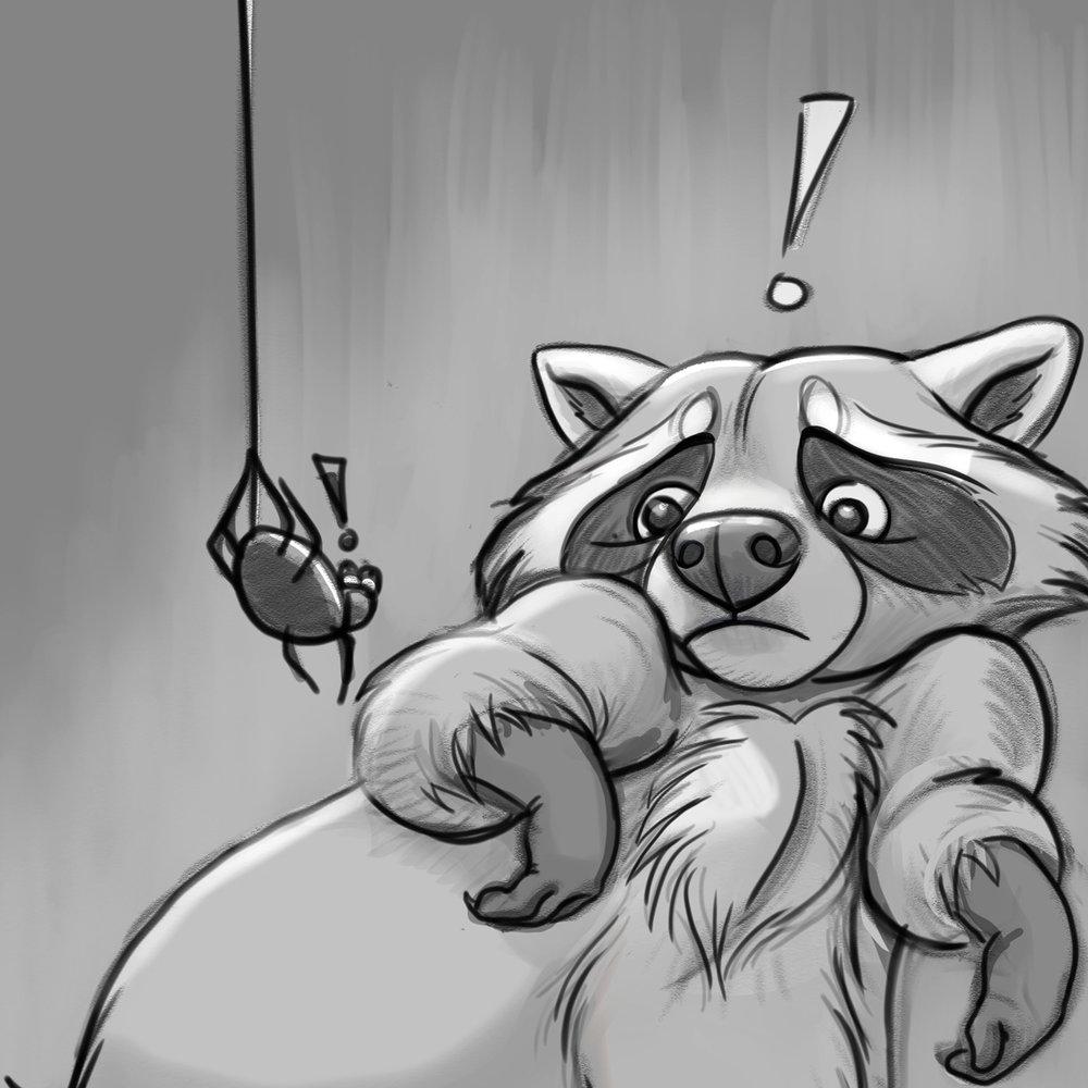 Yoikes Raccoon sketch crop
