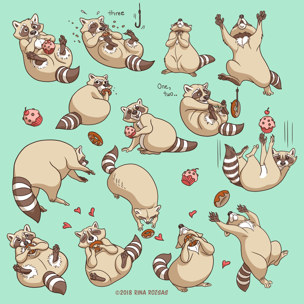 Raccoons Love Pattern Elements