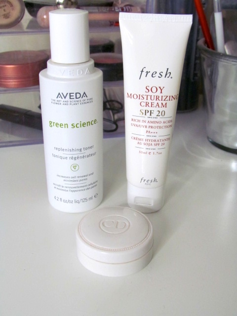 Aveda Green Science Replenishing Toner Fresh Soy Moisturizing cream SPF 20 Christian Dior Creme De Rose Lip Balm