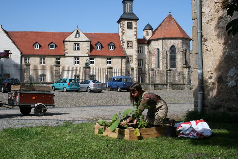 """Kloster Haydau, In der Haydau, 6,  34326, Morschen       Vandaag heb ik met Anke Mellin de burgemeester van Altmorschen bezocht. Een jonge burgemeester met sportief uiterlijk ontvangt ons in het gemeentehuis dat aan het binnenplein van een oud klooster ligt.Hij vertelt dat zijn moeder ook een flinke tuin heeft, nadat ik met behulp van Anke mijn verhaal doe. Ik vraag of zijn moeder er een tuintje bij wil hebben. """"Nee, dat gaat echt niet"""" antwoord de burgemeester. Hij schenkt nog eens koffie in, het lijkt of hij alle tijd heeft. Ik kan rustig over mijn project vertellen. Dan opeens wil hij toch zelf een volkstuintje hebben; ik kan zelfs kiezen: bij het prachtige klooster of toch liever bij de eeuwenoude boerderij?    Voor de enorme boerderij die bij het klooster hoort is een enorme patio waar het fietspad overheen loopt. Enkele dagen na ons gesprek ga ik het volkstuintje aanleggen. De boer die door de burgemeester ingelicht zou worden weet echter van niets. Dialoog: Herr Funke: Ja, dat kan wel. Annechien: Kan dan die grote gele landbouwmachine die op de plek staat weggehaald worden? Herr Funke: wanneer? A: nou, nu? Herr Funke: Nu? A: Ja graag…Herr Funke: Oké. Even later nadat ik het tuintje op de plek geïnstalleerd heb, zoek ik water voor de planten. Herr Funke: zijn er problemen? A: ik heb water nodig. Herr Funke: hier is een gieter, daar is het water(wijst naar kraan in de stal)Wanneer je meer nodig hebt gebruik je het maar…"""