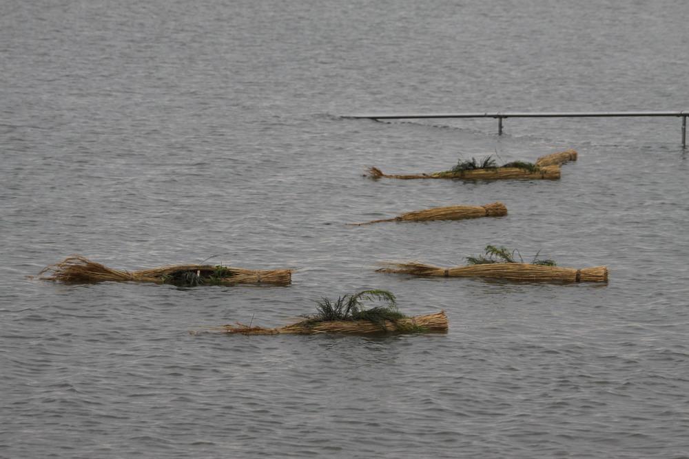 Eilanden drijven voor de kust van Wilhelmshaven.