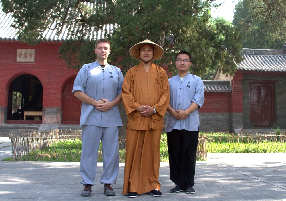 Woolsey and Jung with Wu Nanfang at small temple just outside wugulun