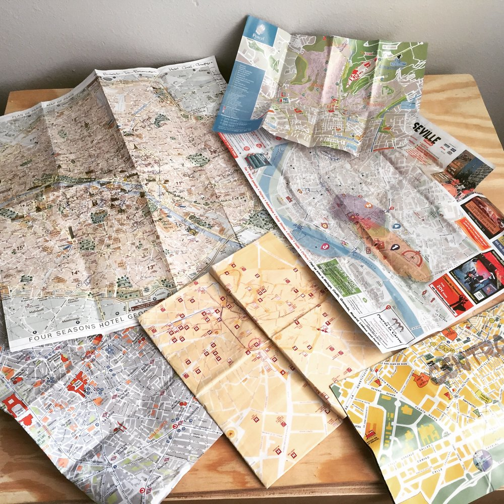 Maps collected from France, Spain, Morocco trip. 2015.
