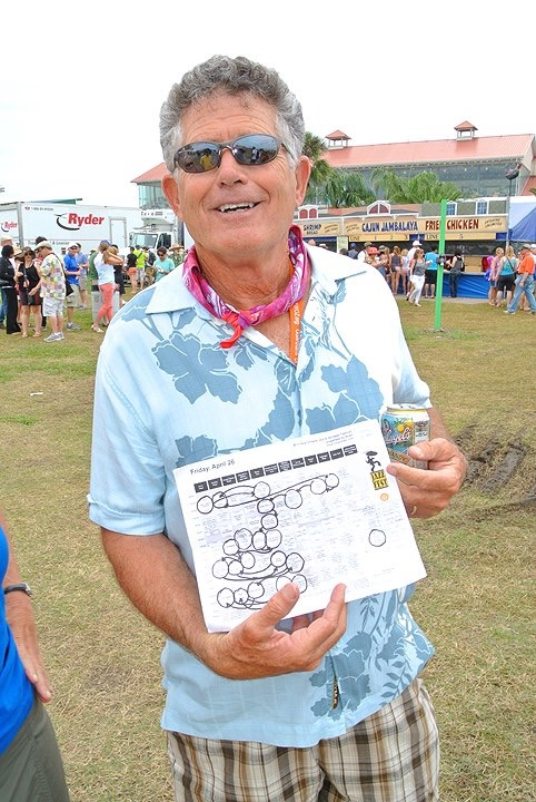 Jazz Fest original, Steve Hartnett, with his conquest map.