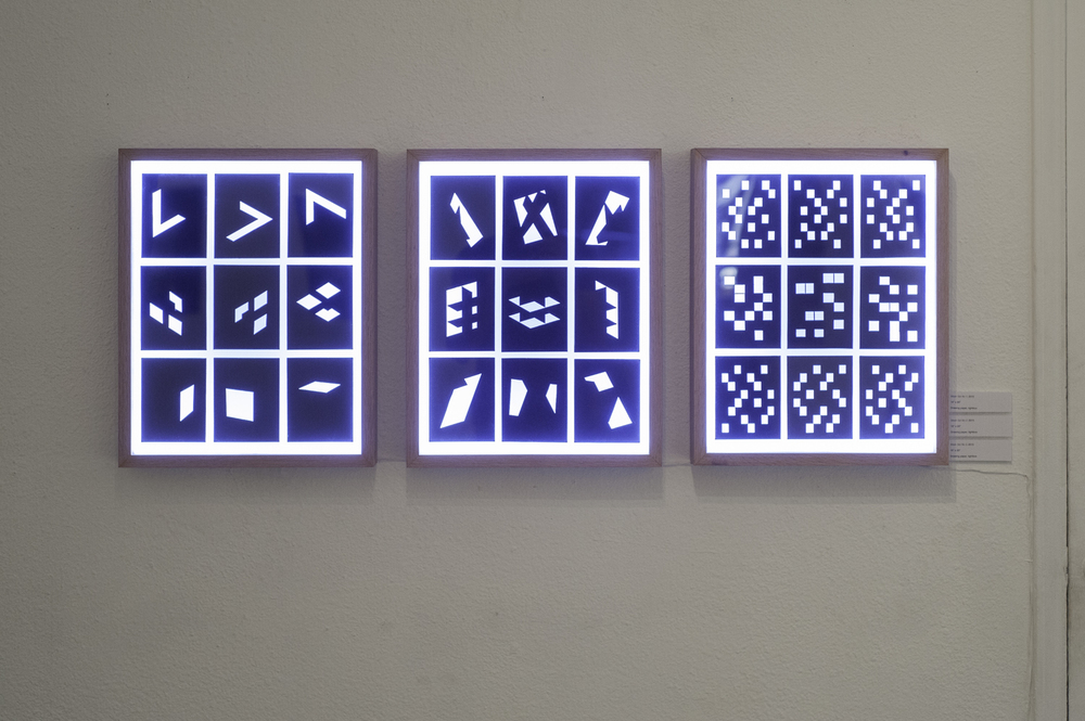 "Mask Sets No. 1-3 , 2015  Drawing paper, light box  17""x21"""