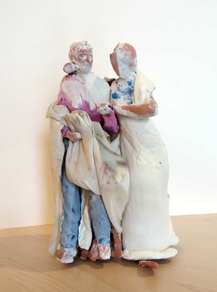 Amina Leaving Prison,   2013   terracotta, pigmented slip, silk 29.5 x 40 inches