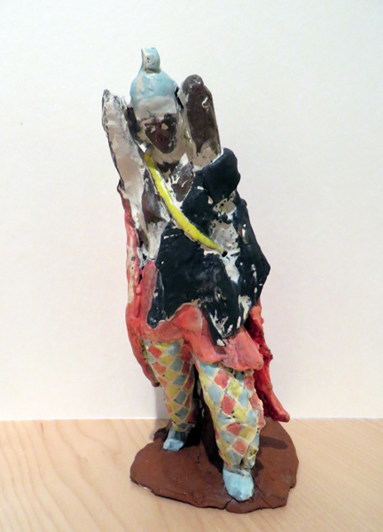 Short Amazon with Panther Pelt,   2014   glazed earthenware 10 x 4.5 x 5 inches