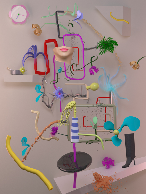 Still Life with Clock , 2012 3D render, pigment print 40 x 30 inches