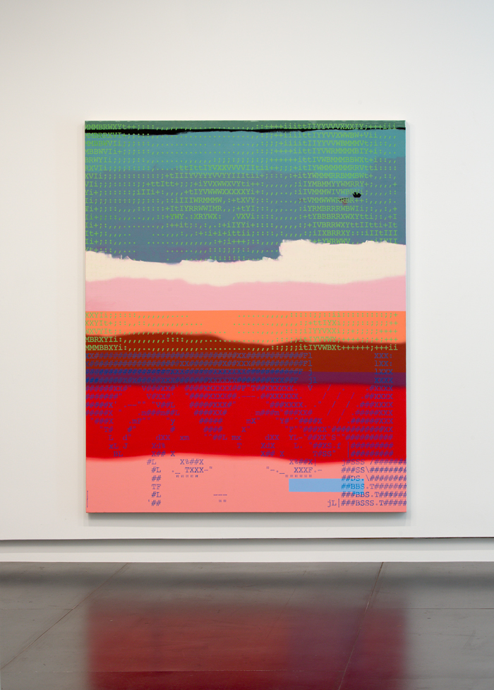 Unpattern5 , 2014 (installation view) oil paint and enamel on canvas 72 x 60 inches