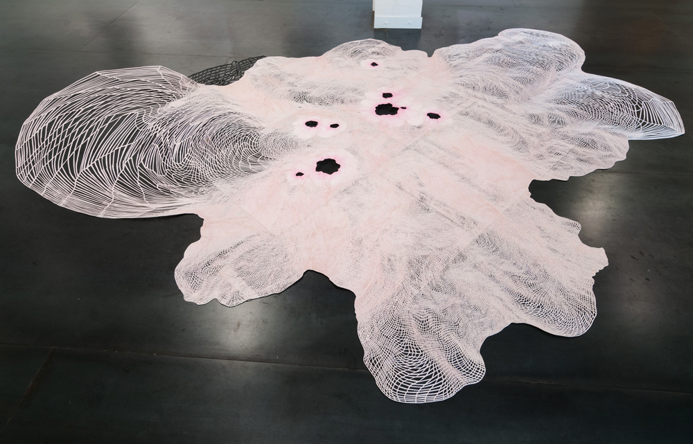 Laura Vandenburgh   Spill , 2014 paper, watercolor, ink, acrylic and vinyl; 164 x 117 x 1 inches