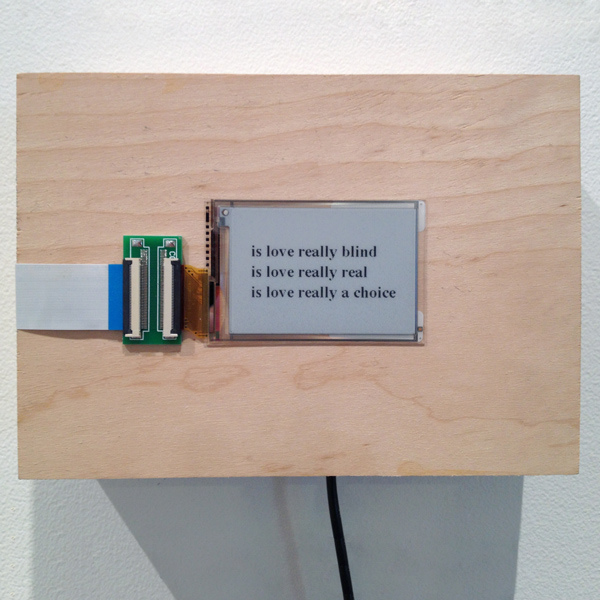 is love really blind, is love really real, is love really a choice , 2015 custom wood enclosure, electronics, real-time Google autofill suggestions 5 x 7 x 2.25 inches