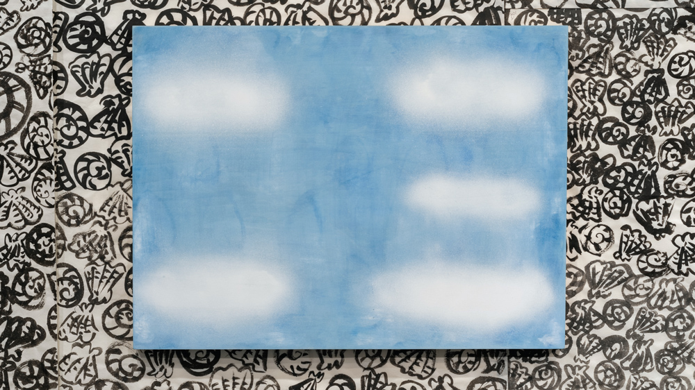 My New Blue Friend Number Sixteen , 2015 airbrushed egg tempera on wood panel 18 x 24 inches