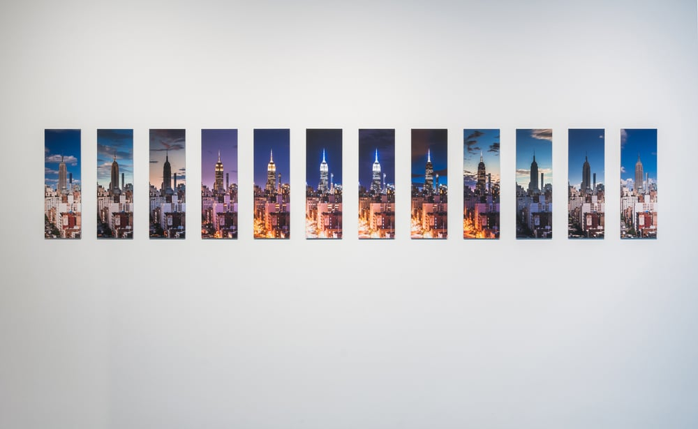 24 Hour Empire x 12 , 2016 12 unique digital prints mounted on board photography and technical assistance by Hal Bergman