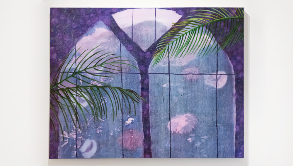 Window with Fronds , 2015 oil paint on canvas 48 x 60 inches