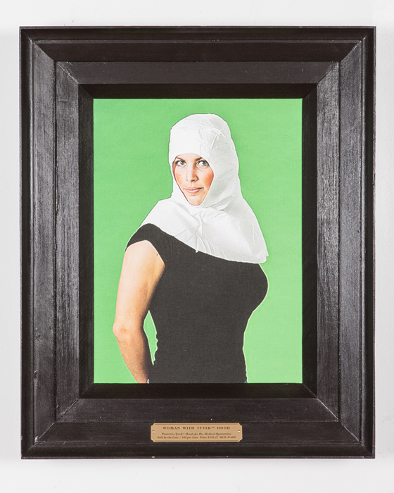 Woman with Tyvek® hood , 2016 digital print on canvas, frame, brass plaque 19 x 23 x 3 inches