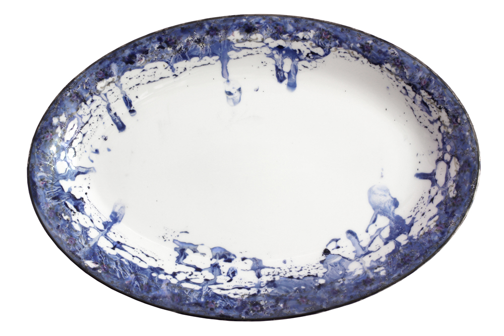 Embarrassment of Dishes, 2015, cobalt blue pigment, 7-Up and simple syrup, painted and kiln fired on a 1961 set of Noritake, service for 12