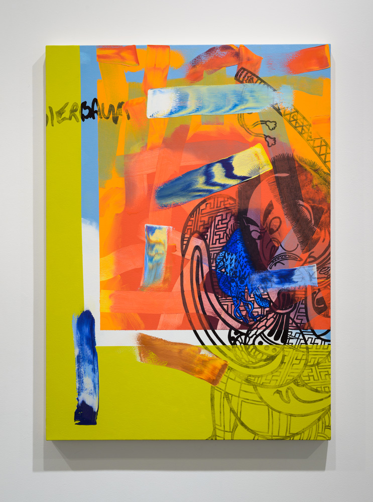 Hank Bierbaum Fantasies , 2016 oil paint and enamel on canvas, 52 x 37.5 inches