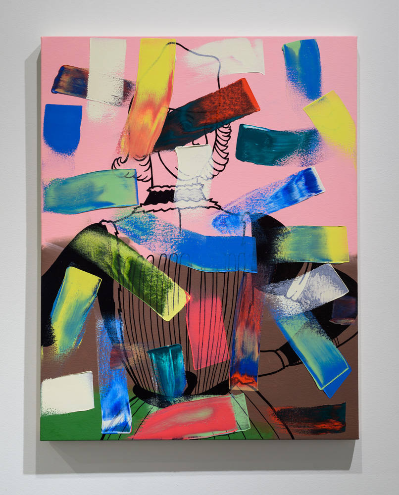 Plinth , 2016 oil paint and enamel on canvas, 43 x 34 inches