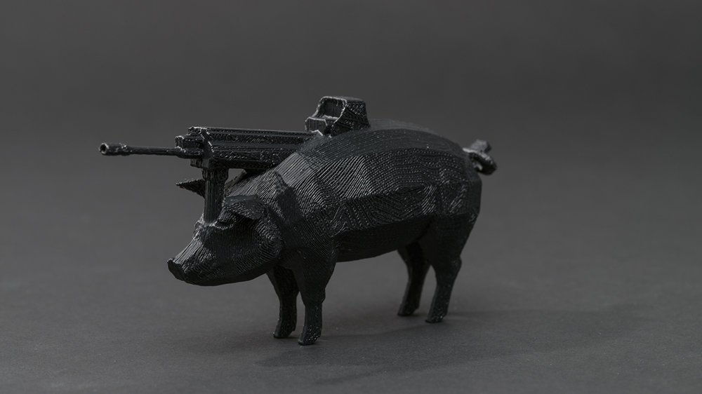 Dark Matter (First Series): #pig #gun , 2013 3D printed plastic resin, 4 x 8 x 2 inches (approx.) edition of 5 plus 1 AP photo by Mario Gallucci