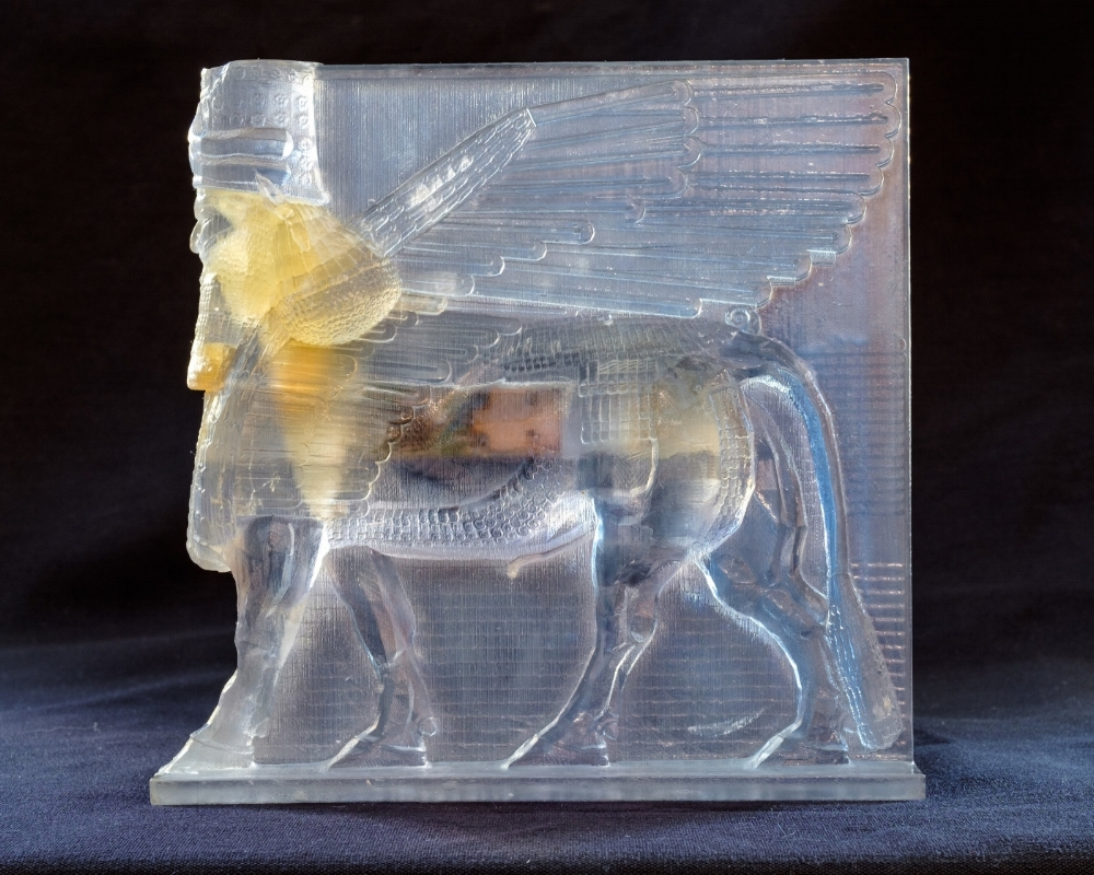 Lamassu , 2015 3D printed plastic and electronic components 6.25 x 6.25 x 1.25 inches photo courtesy Mario Gallucci