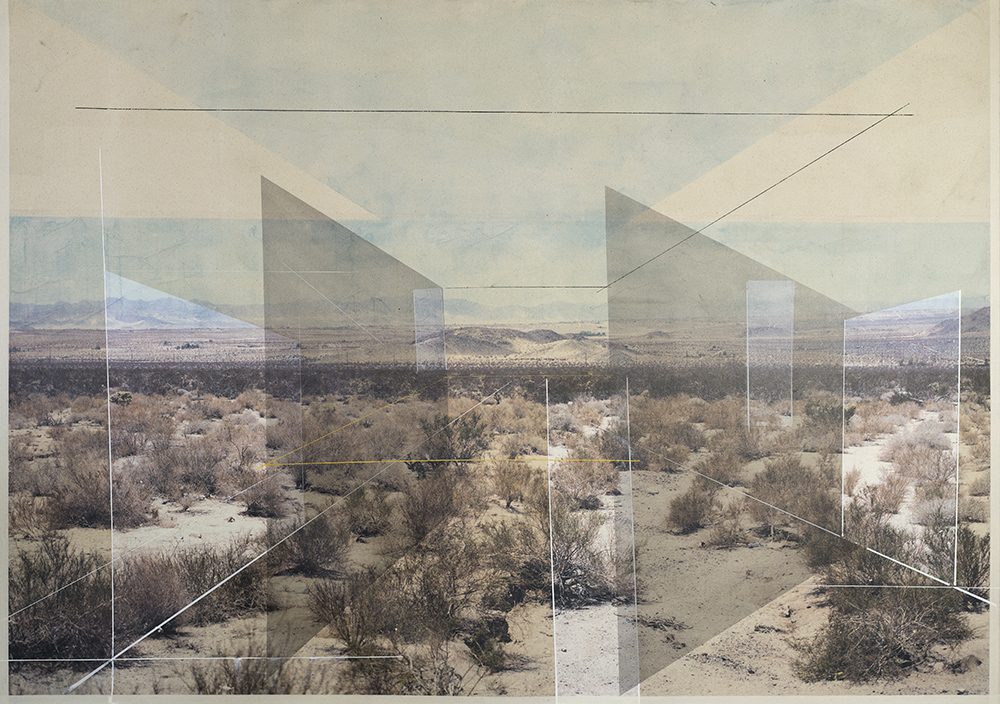 New Land No. 3 , 2017 toner, acrylic, chalk on canvas 52 x 74 inches (sold)