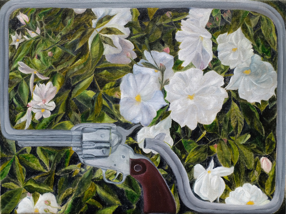 White Roses , 2018 oil paint on linen 12 x 16 inches