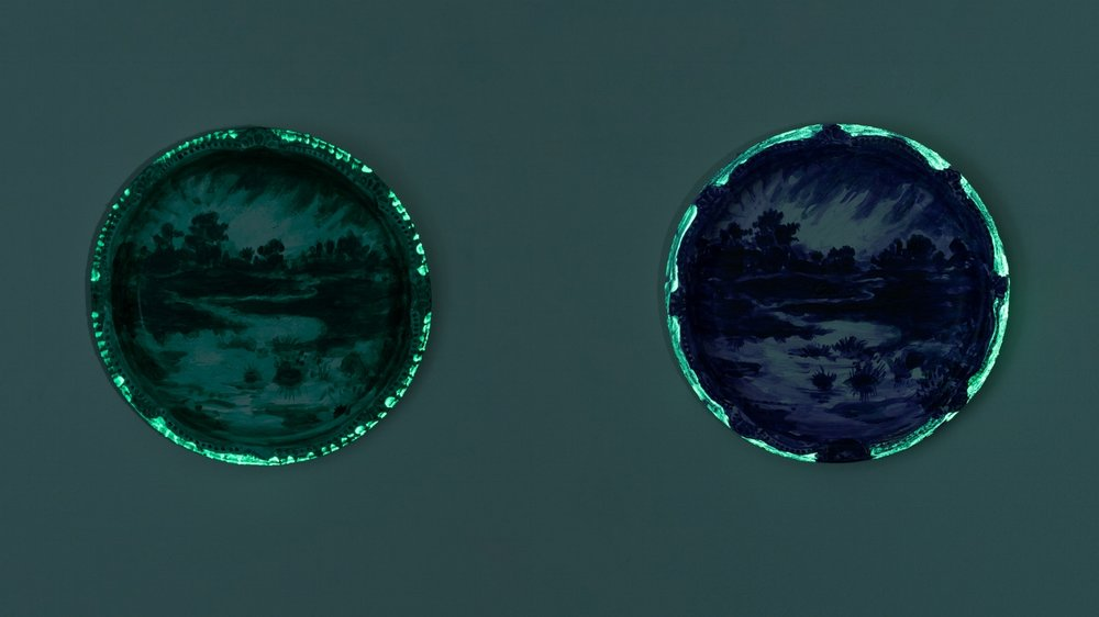 No, Yes (I Won't Wear  and  Azure Wish #102) , 2017 acrylic, day-glow paint and nail polish on Chinet paper plate 10.25 x 10.25 x 1 inches (each)