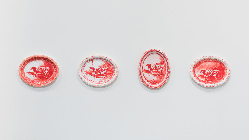 Left to right:  To the Viewer ,  Gaijin ,  Lipsick ,  Russian   Redder  each: 2017, acrylic and day glow paint on gessoed Chinet paper plate or platter