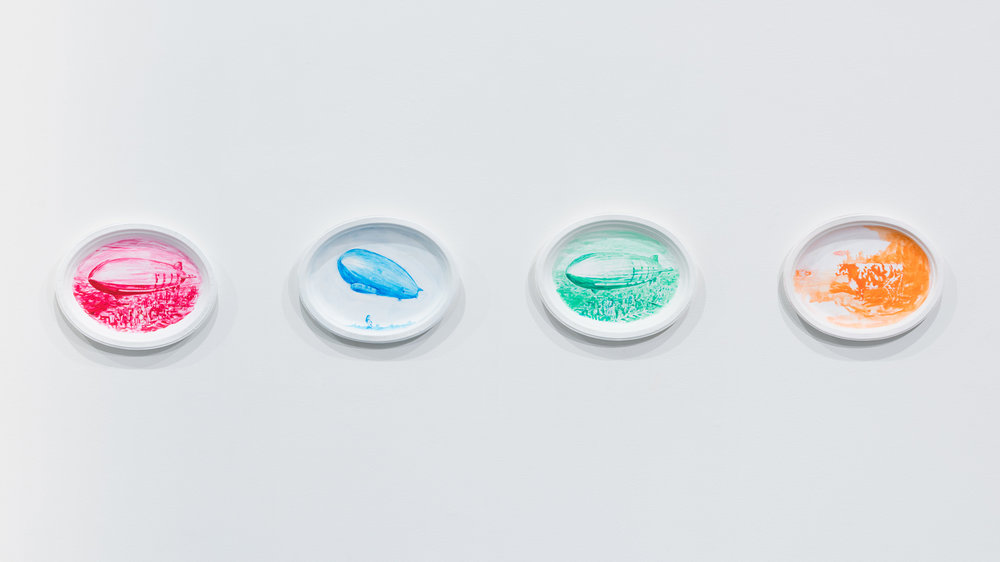 My Silicone Love Doll  works, left to right:  Maid ,  School Girl ,  Soldier Girl ,  Flight Attendant  each: 2017, acrylic and day glow paint on gessoed Chinet platter, 10 x 12.75 x .25 inches