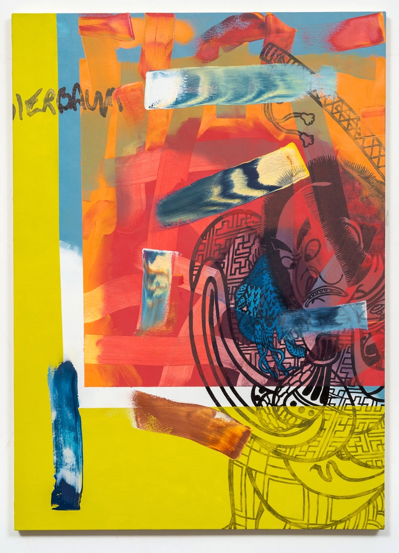 Hank Bierbaum Fantasizes , 2016 oil paint and enamel on canvas 52 x 37.5 inches
