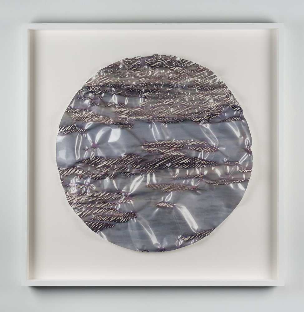 I Do Not Belong to the Sky (Disc) , 2015 embellished Lambda photograph 49 x 49 x 4 inches (framed)