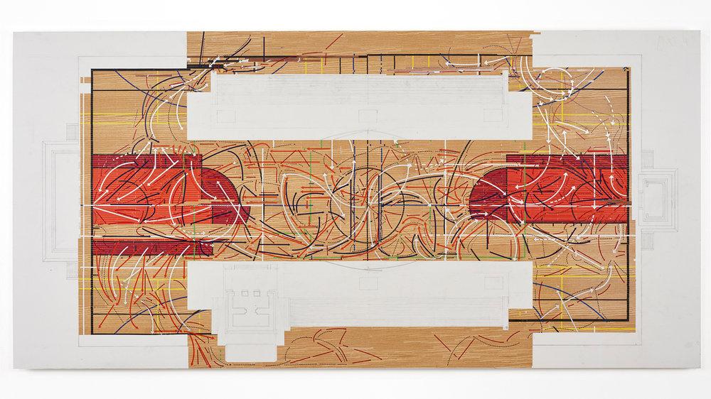 ULAMA-ULE-ALLEY OOP , 2017 enamel, silver leaf, vinyl and pencil on Mylar on panel 42 x 84 inches
