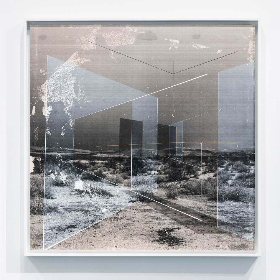 Sense of Place No. 39 , 2018 toner, acrylic, chalk on canvas 37.25 x 37.25 inches (framed)
