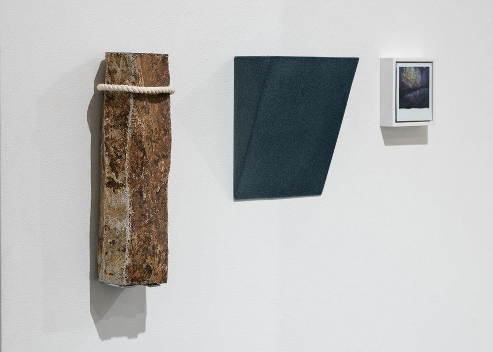 Latourell Falls , 2018 columnar basalt, wood, flock, Polaroid, wood, paint 15.375 x 28.75 x 4 inches (39 x 73 x 10 cm) SOLD