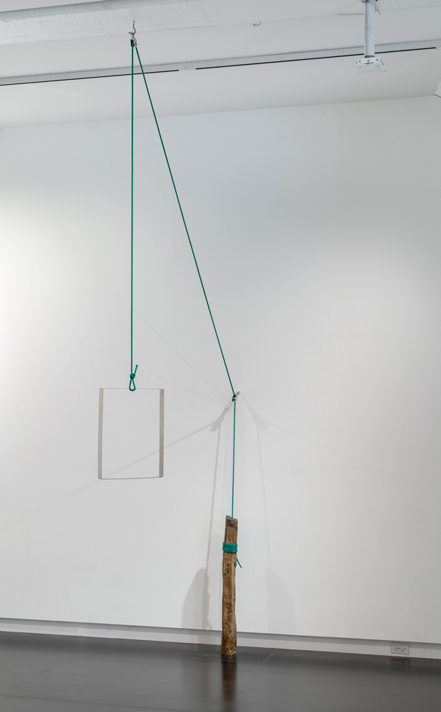 Lavatecture , 2018 columnar basalt, stainless steel, rope, hooks 141.75 x 87.75 x 14 inches (360 x 223 x 35.5 cm)
