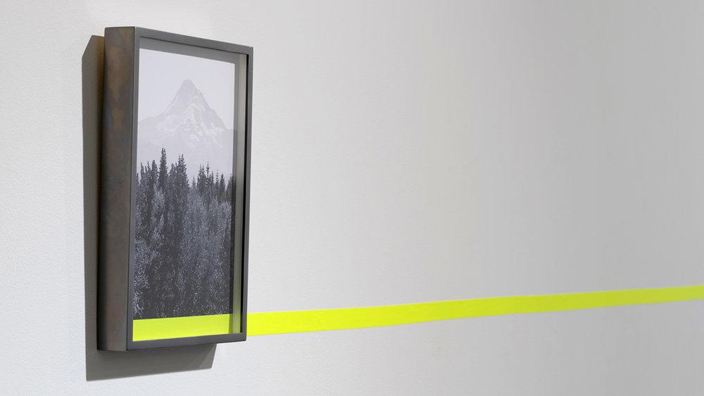 The long climb , 2018 archival pigment print, RTA aluminum frame, tape 12.25 x 8.25 inches (31 x 21 cm)