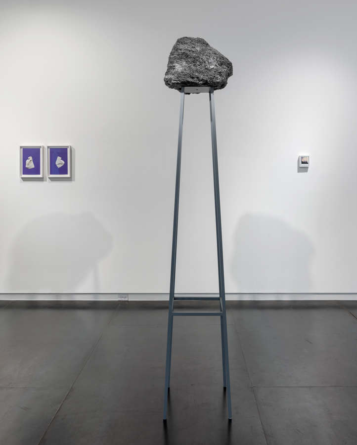 center:  Rocking all over the world , 2018 steel, paint, feather rock 91.375 x 16.875 x 18.875 inches (232 x 43 x 48 cm) SOLD