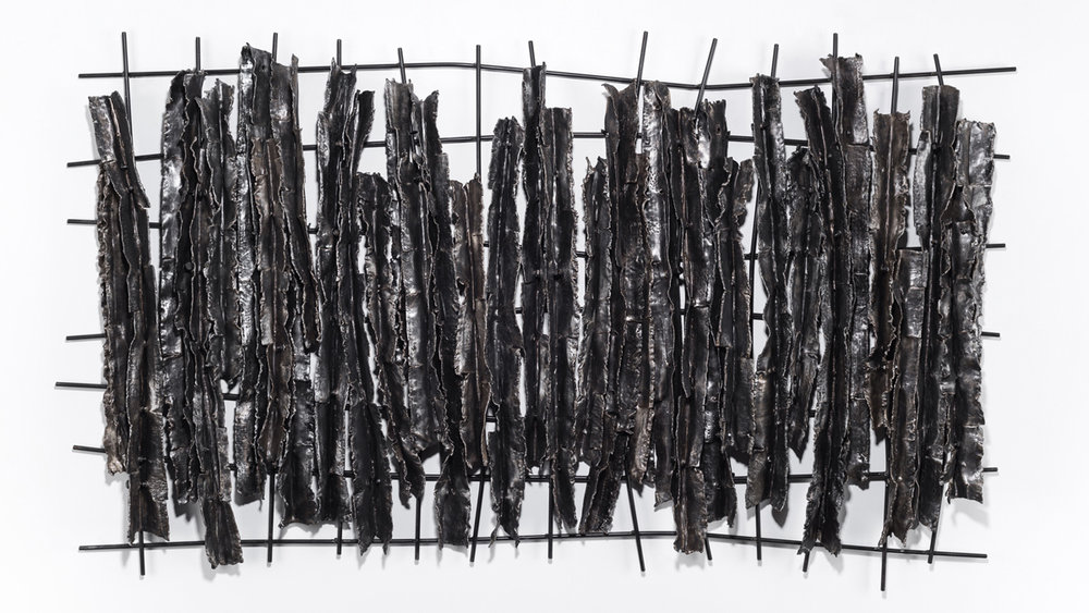 In Order to Enter #2 , 2017 welded steel, wax, cloth, paint, nuts and bolts 31 x 54 x 3 inches
