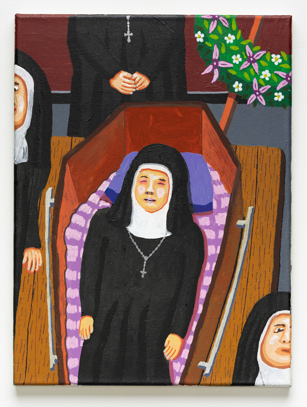 Nun Funeral , 2018 acrylic on canvas 12 x 16 inches