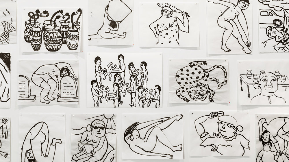 After Swimming drawings ink in paper 18 x 24 inches or 22 x 30 inches (each)