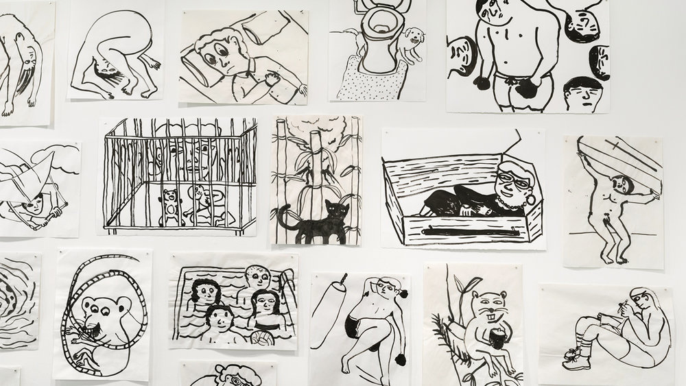After Swimming drawing ink in paper 18 x 24 inches or 22 x 30 inches (each)