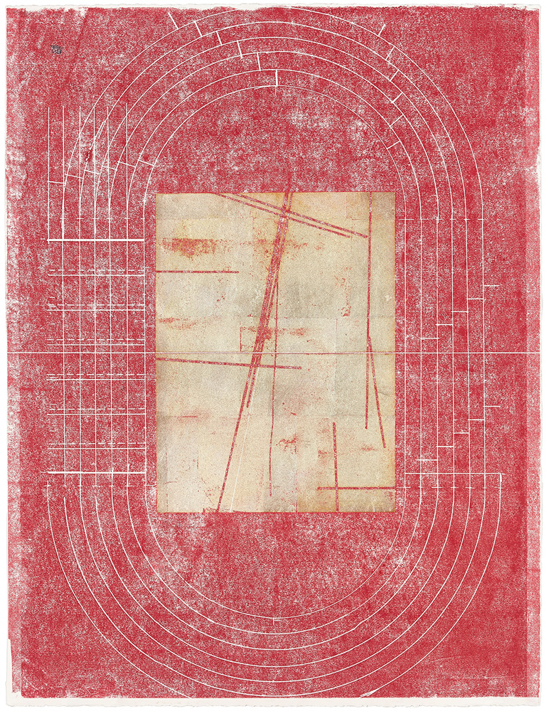 Nazca half-time , 2018 silver leaf and wax on paper 26 x 18 in (66 x 45.7 cm) unframed 30.5 x 24 in (77.5 x 61 cm) framed