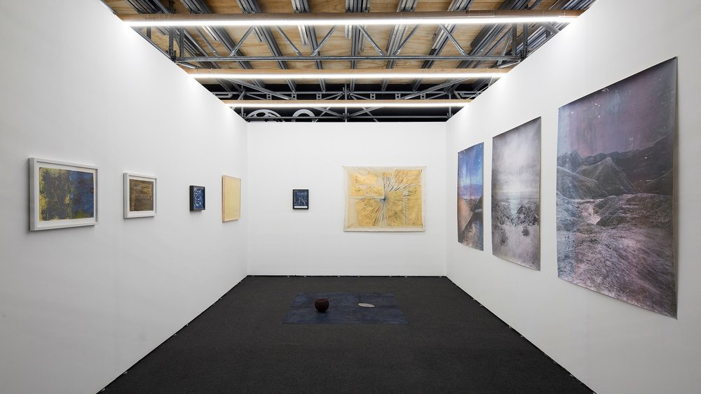 Works by Ronny Quevedo (left, center) and Rodrigo Valenzuela (right), and a collaboration between Quevedo and Harold Mendez (floor).