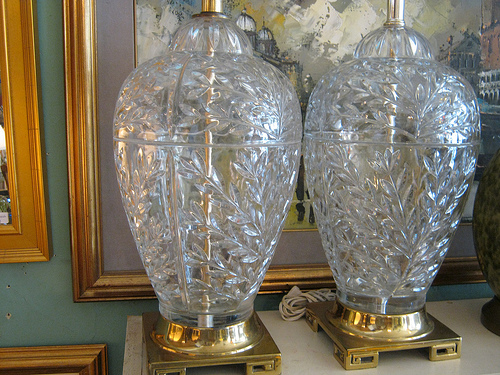 This Is A Beautiful Set Of Large Crystal Lamps. The Crystal Was Crafted In  West Germany And They Sit On Beautiful Brass Bases. They Measure 21 Inches  High ...